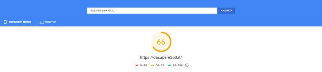 Il risultato di PageSpeed Insights da desktop