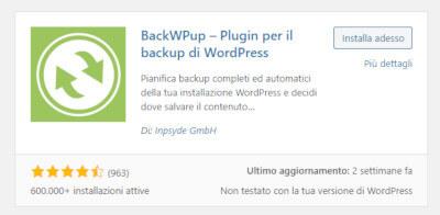 BackWPup: installazione plugin