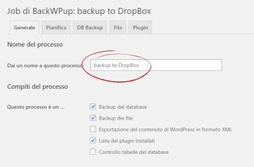 BackWPup: creazione nuovo processo