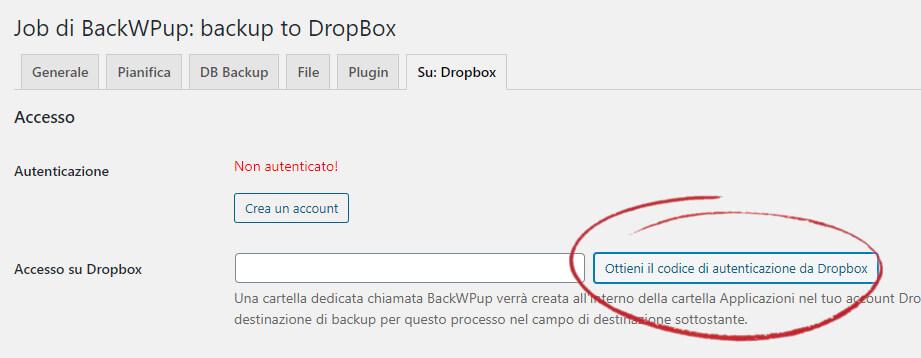 Richiesta codice di autenticazione da Dropbox