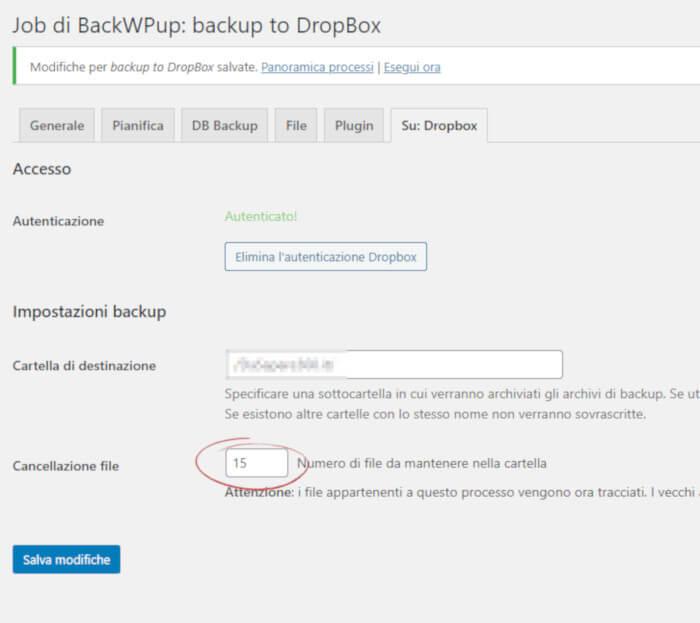 BackWPup: inserimento codice di autorizzazione