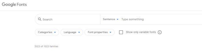 il servizio utilissimo di filtering di google font