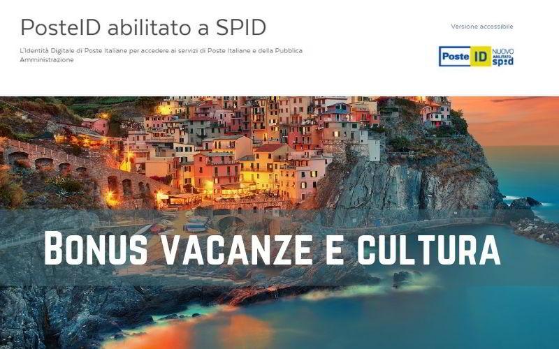 Bonus vacanze e cultura Spid Poste Italiane